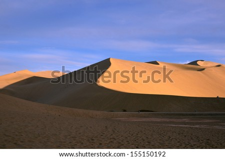 DUNHUANG, CHINA � SEPTEMBER 2: Mingsha mountain on September 2, 2013 in Dunhuang,China.Mingsha mountain stretches 40 kilometers from the east to the west and 20 kilometers from the south to the north.
