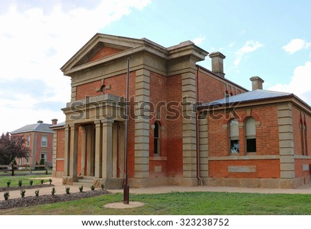 DUNOLLY, VICTORIA, AUSTRALIA - September 15, 2015: Built in the market square as the Dunolly Municipal Chambers it was converted to a courthouse in 1862 when deemed too small for its original purpose - stock photo