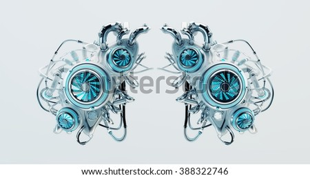 Duo white liver pack / Robotic organ replacement parts - stock photo