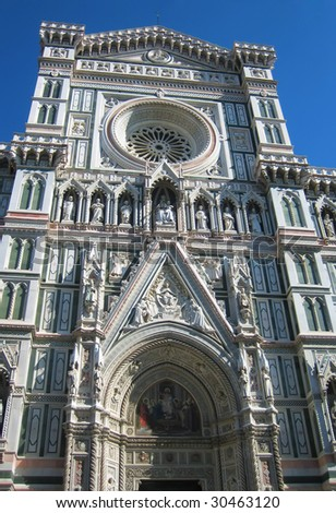 Duomo cathedral in Florence Italy front view.