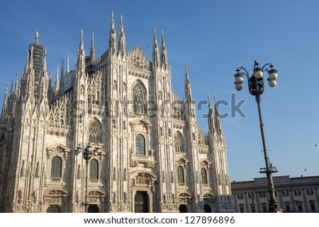 Duomo (Cathedral) of Milan (Lombardy, Italy), the facade - stock photo