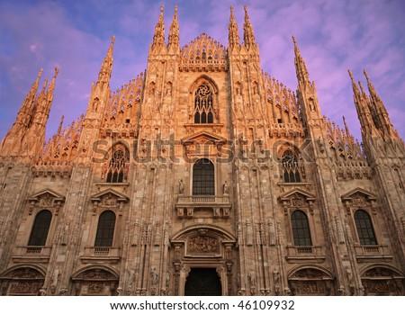 Duomo di Milano, Facade frontal view - stock photo