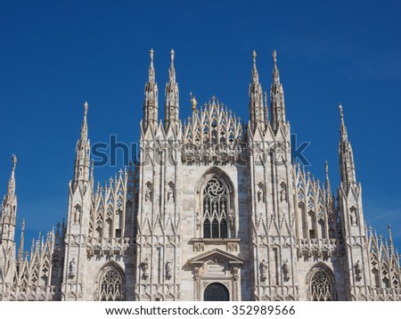 Duomo di Milano gothic cathedral church in Milan, Italy - stock photo