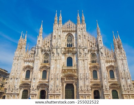 Duomo di Milano meaning Milan Cathedral in Italy, with blue sky