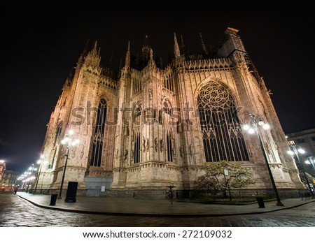 Duomo di Milano (Milan Cathedral)  -   View from the rear - stock photo