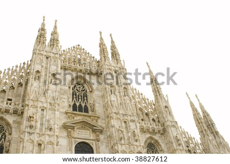 Duomo of Milano in Italy isolated on white. - stock photo
