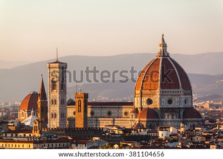 Duomo Santa Maria Del Fiore and Bargello in the evening from Piazzale Michelangelo in Florence, Tuscany, Italy - stock photo