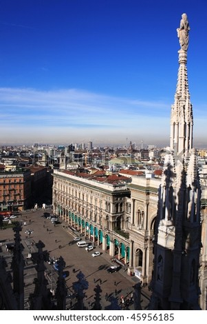 Duomo square from roof cathedral, Milan - stock photo