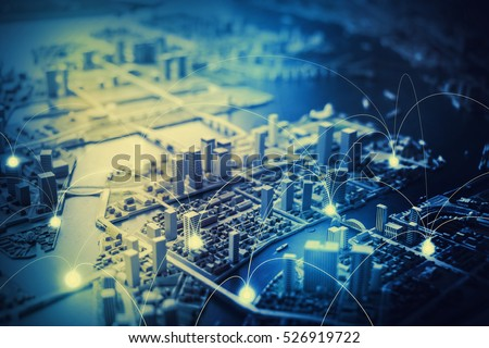 duotone graphic of smart city diorama and communication network concept IoT(Internet of Things), ICT(Information Communication Technology), digital transformation, abstract image visual
