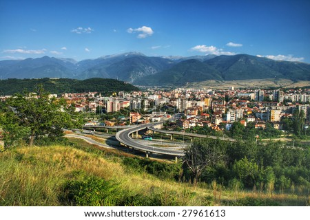 Dupnica, the small city of Bulgaria - view from above - stock photo