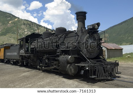 Durango & Silverton Narrow Gauge Railroad - engine 482 - 2-8-2 Mikado Type - Silverton, Colorado - stock photo