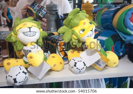 DURBAN - APRIL  5:  zakumi is the mascotte of the next soccer world cup, april 5, 2010 Durban, South Africa - stock photo