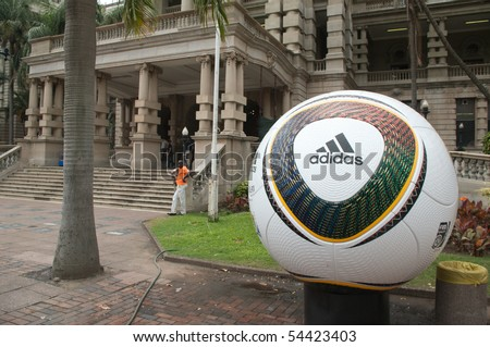 DURBAN - 05 MAY 2010: promotion of the next coming soccer world cup in the city of Durban, may 05 2010 in durban, South Africa - stock photo