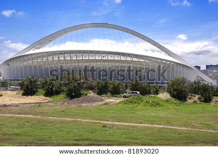 DURBAN - NOVEMBER 26: the Moses Mabhida stadium of Durban on November 26, 2009 in Durban, South Africa. It was one of the host stadiums for the 2010 FIFA World Cup. - stock photo