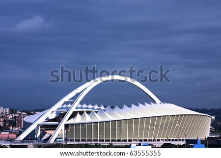 DURBAN, SOUTH AFRICA-CIRCA 2010: New Moses Mabhida soccer stadium custom built for the FIFA Soccer World Cup in Durban, South Africa. It was hosted for the first time circa June 2010 in Africa - stock photo