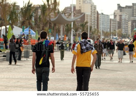DURBAN, SOUTH AFRICA - JUNE 17: Visitor and locals experience the sights and sounds of a host city as world cup fever hits Durban, June 17 2010 Durban South Africa - stock photo