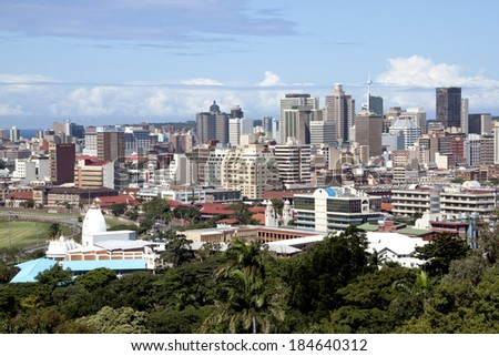 DURBAN, SOUTH AFRICA - MARCH 28, 2014:Overview of Durban City skyline and business district in Durban South Africa