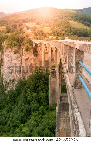 Durdevica arched Tara Bridge - stock photo