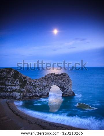 Durdle Door by Moonlight - stock photo