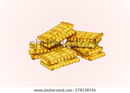 Durian biscuits on isolated background. Vanilla biscuits cookie. Dessert cookie or Dessert biscuit. Durian cookie tasty. Sweet cookies on isolated. Durian cookie cream. Cookie for tea time. - stock photo