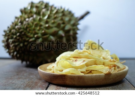 Durian crispy chips  fried durian, thai snack - stock photo