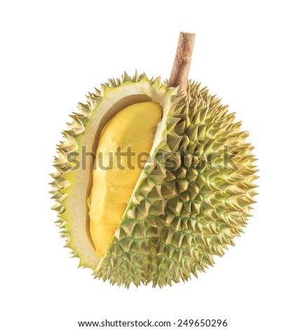 Durian fruit isolated on white background - stock photo
