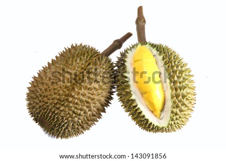 Durian isolated on white background - stock photo