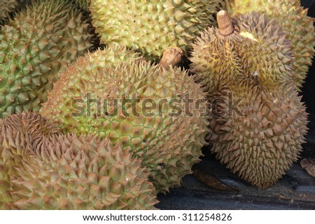 Durian, King of Fruit, on the back of the pickup truck