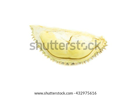 durian on white background, king of fruit - stock photo