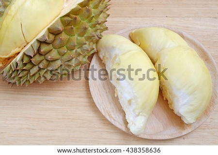 durian on wood plate