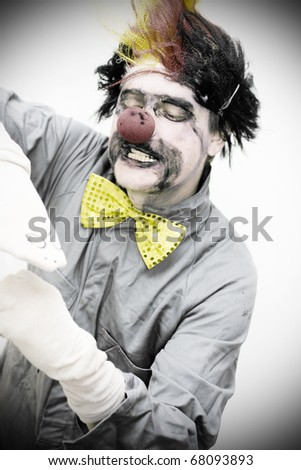 During A Dramatic Stage Show The Dark Puppeteer Performs A Dark And Moody Hand Puppet Theatrical Performance - stock photo
