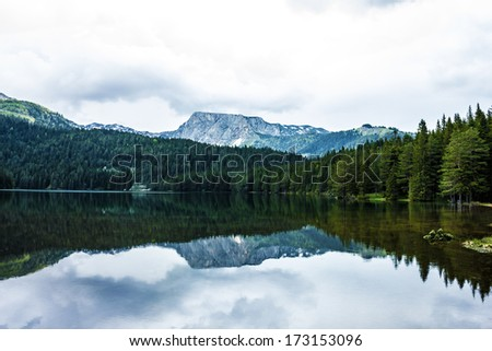 Durmitor, Montenegro - mountains, lake and forest.