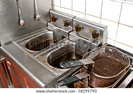 durty kitchen in a real restaurant - stock photo