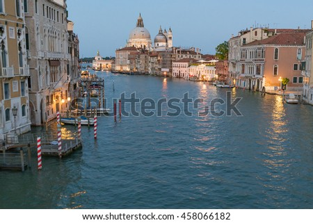 Dusk along the Grand Canal in Venice, Italy - stock photo