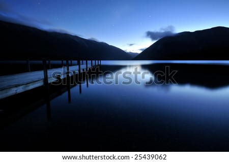 Dusk in Nelson Lakes National Park - stock photo