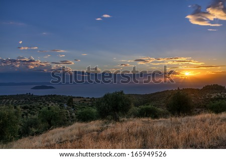Dusk in Sithonia, Chalkidiki, Greece, where the forest meets the sea - stock photo