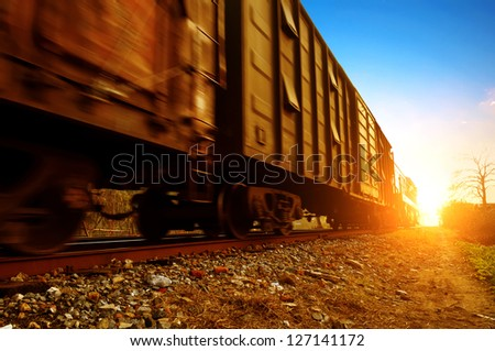 Dusk, Motion Blur freight train. - stock photo