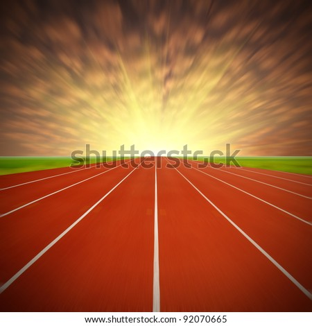 Dusk of the track, the stadium's fantasy landscape, exaggerated expression. - stock photo