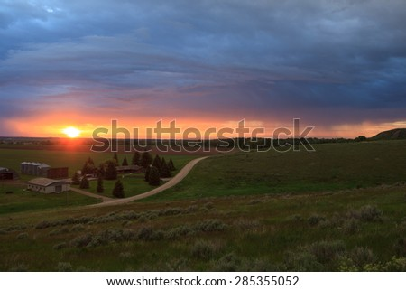 Dusk On The Farm - stock photo