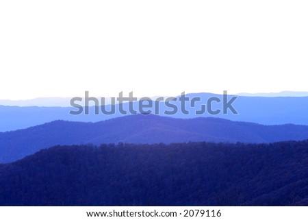 dusk over mountains - stock photo