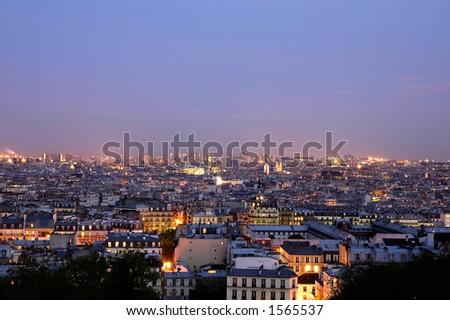 Dusk over Paris - wide panoramics - stock photo