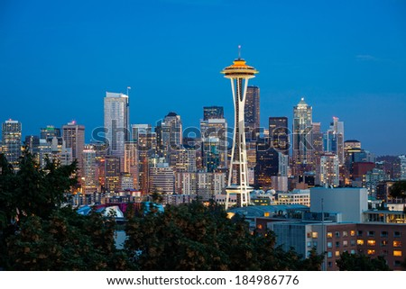 Dusk over the Seattle skyline, Washington - stock photo