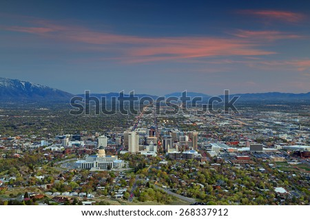 Dusk sky above Salt Lake City, Utah, USA.