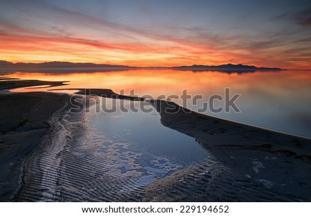 Dusk sky at the Great Salt Lake, Utah, USA. - stock photo