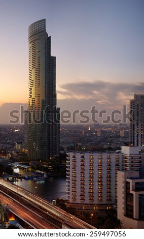 Dusk view on Bangkok city from top view point