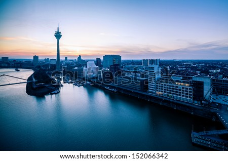 Dusseldorf city skyline panorama at sunset from above - stock photo