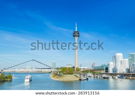 Dusseldorf cityscape at spring, germany - stock photo