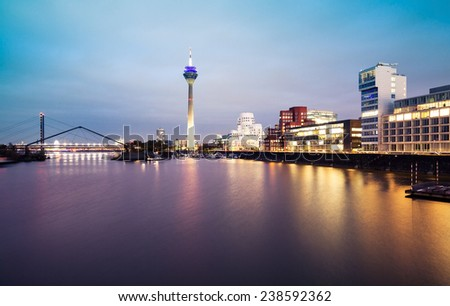 Dusseldorf cityscape with view on media harbor - stock photo