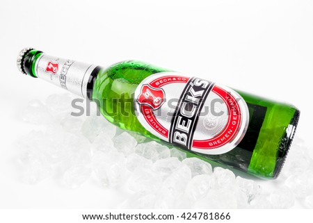 DUSSELDORF, GERMANY - APRIL 21, 2016: Becks beer isolated on white background. Becks brewery was founded in 1873 in Bremen, Germany - stock photo