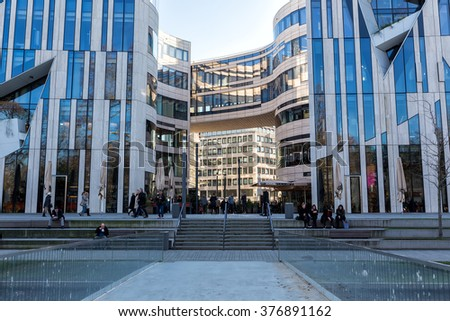 Dusseldorf, Germany - December 8, 2015: Modern buildings in Dusseldorf, Germany. Architecture details of the city.
